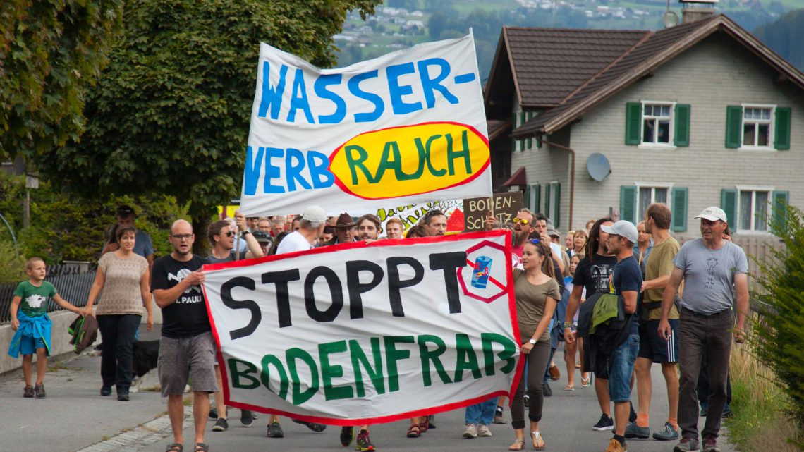 Wasserverbrauch, Demonstration, Bodenfraß